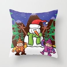 Christmas Snowman and Children Throw Pillow