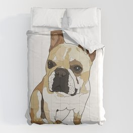 Frenchie Dog (tan/white) Comforters