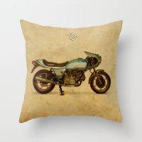 ducati Throw Pillows featuring Ducati 900SS Darmah 1979 by Larsson Stevensem