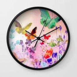 Blush Butterflies & Flowers Wall Clock