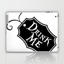 """Drink Me"" Alice in Wonderland styled Bottle Tag Design in Black & White Laptop & iPad Skin"