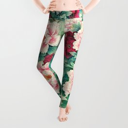 Light pink and purple peonies Leggings