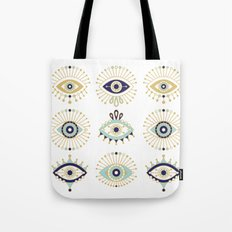 Evil Eye Collection on White Tote Bag