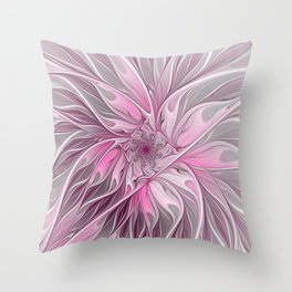 Abstract Pink Floral Dream Throw Pillow