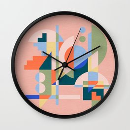Abstract cityscape in funny geometric shapes Wall Clock