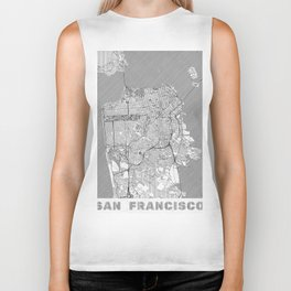 San Francisco Map Line Biker Tank