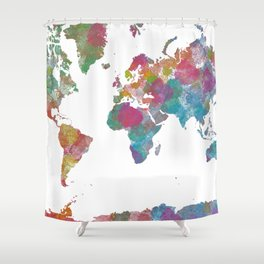 World Map - Watercolor 3 Shower Curtain