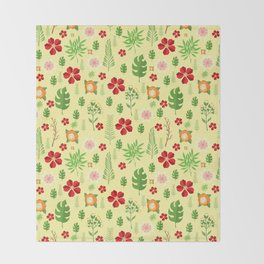 Tropical yellow red green modern floral pattern Throw Blanket