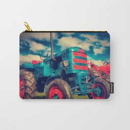 Cool Blue Red Vintage Tractor Carry-All Pouch