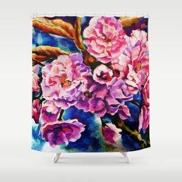 Bloom Floral Sun Fuchsia Pink Art Shower Curtain