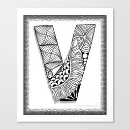 Zentangle V Monogram Alphabet Initial Canvas Print
