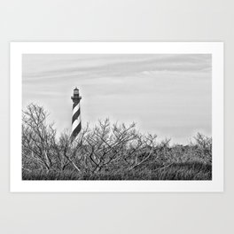 Cape Hatteras Lighthouse (B&W) Art Print