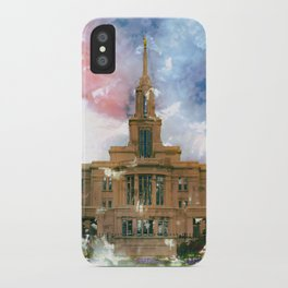 Payson LDS Temple Watercolor Photo iPhone Case