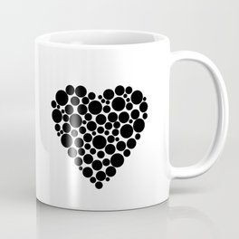 Simple black and white pattern  .heart black polka black polka dots . Coffee Mug