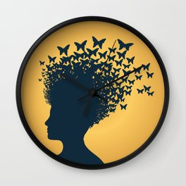 Woman and Butterflies Wall Clock