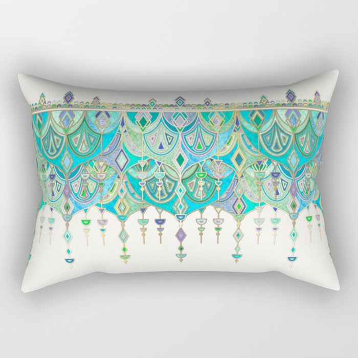 Art Deco Double Drop in Jade and Aquamarine on Cream Rectangular Pillow