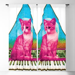 Cat on Synthesizer Blackout Curtain