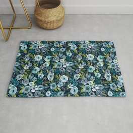 Navy Watercolor Floral, Loose Hand-Painted Floral, Whimsical Flowers Rug