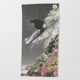 Spring Skiing Beach Towel