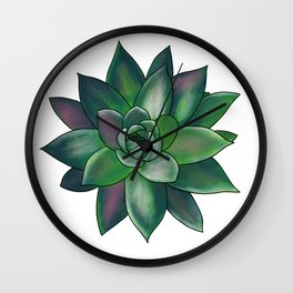 Colorful Rainbow Succulent - Green & Pink Wall Clock