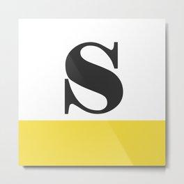 Monogram Letter S-Pantone-Buttercup Metal Print