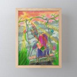 Fairy on Swing - Hand Drawn Fantasy Artwork Framed Mini Art Print