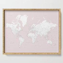 World map, highly detailed in dusty pink and white, square Serving Tray