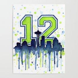 Seattle 12th Man Art Seattle Skyline Space Needle Poster
