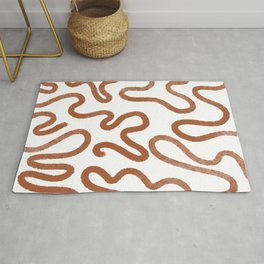 Abstract Lines Terracotta Squiggles  Rug