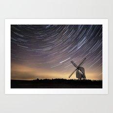 Windmill on a starry night Art Print