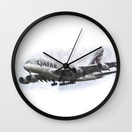 Qatar Airbus A380 Art Wall Clock