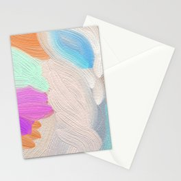 Abstract modern teal pink acrylic paint brushstrokes Stationery Cards