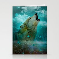 hobbes Stationery Cards featuring I'll See You In My Dreams (Cry of the Wolf) by soaring anchor designs