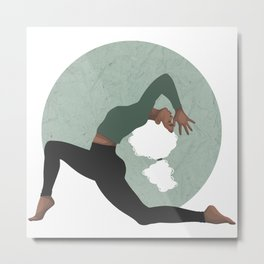 Yoga Girl Green Metal Print