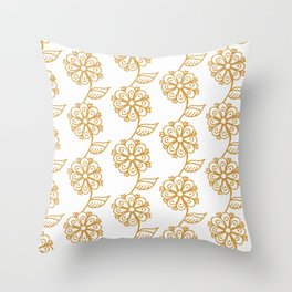 Golden floral on white 2/5 Throw Pillow