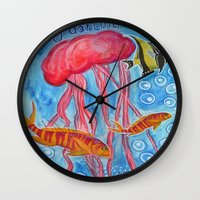 jelly fish Wall Clocks featuring Jelly Fish by Julie M Studios