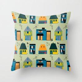 City Scenes Green Throw Pillow