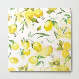 Watercolor lemons Metal Print
