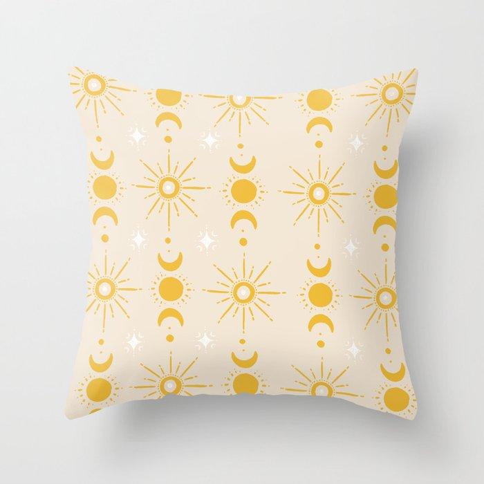 Yellow Sun & Moon Pattern Throw Pillow