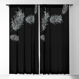 Flying Feathers Black and White Blackout Curtain