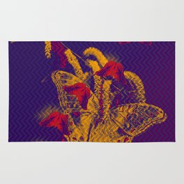 Red radioactive butterflies in glowing landscape Rug