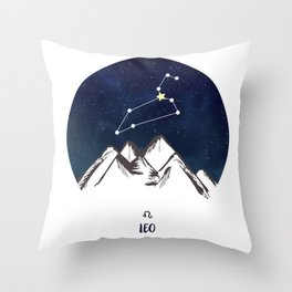 Astrology Leo Zodiac Horoscope Constellation Star Sign Watercolor Poster Wall Art Throw Pillow