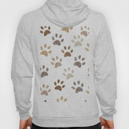 Shining brown colored paw print background Hoody