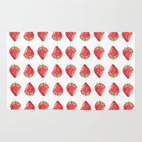 strawberry Area & Throw Rugs featuring Strawberry by Molly Lloyd