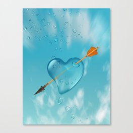 Stabbed water drop heart Canvas Print