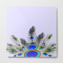 GREEN PEACOCK FEATHER & JEWELS #2 Metal Print