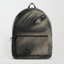 Coal portrait beautiful girl with sorrow sigth Backpack