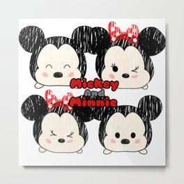 Minnie &Mickey Tsums Metal Print