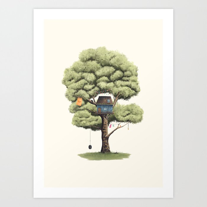 Sunday's Society6 | Tree house with tyre swing art print