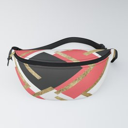 Chic Coral Pink Black and Gold Square Geometric Fanny Pack